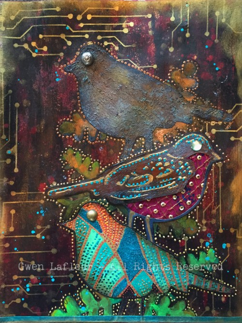 Opposites - Bird Stamp Art Journal Page - Gwen Lafleur