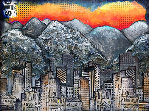 500 Salt Lake City Mixed Media Painting - Gwen Lafleur - WM