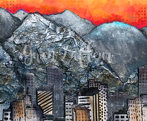 detail Salt Lake City Mixed Media Painting - Gwen Lafleur - WM