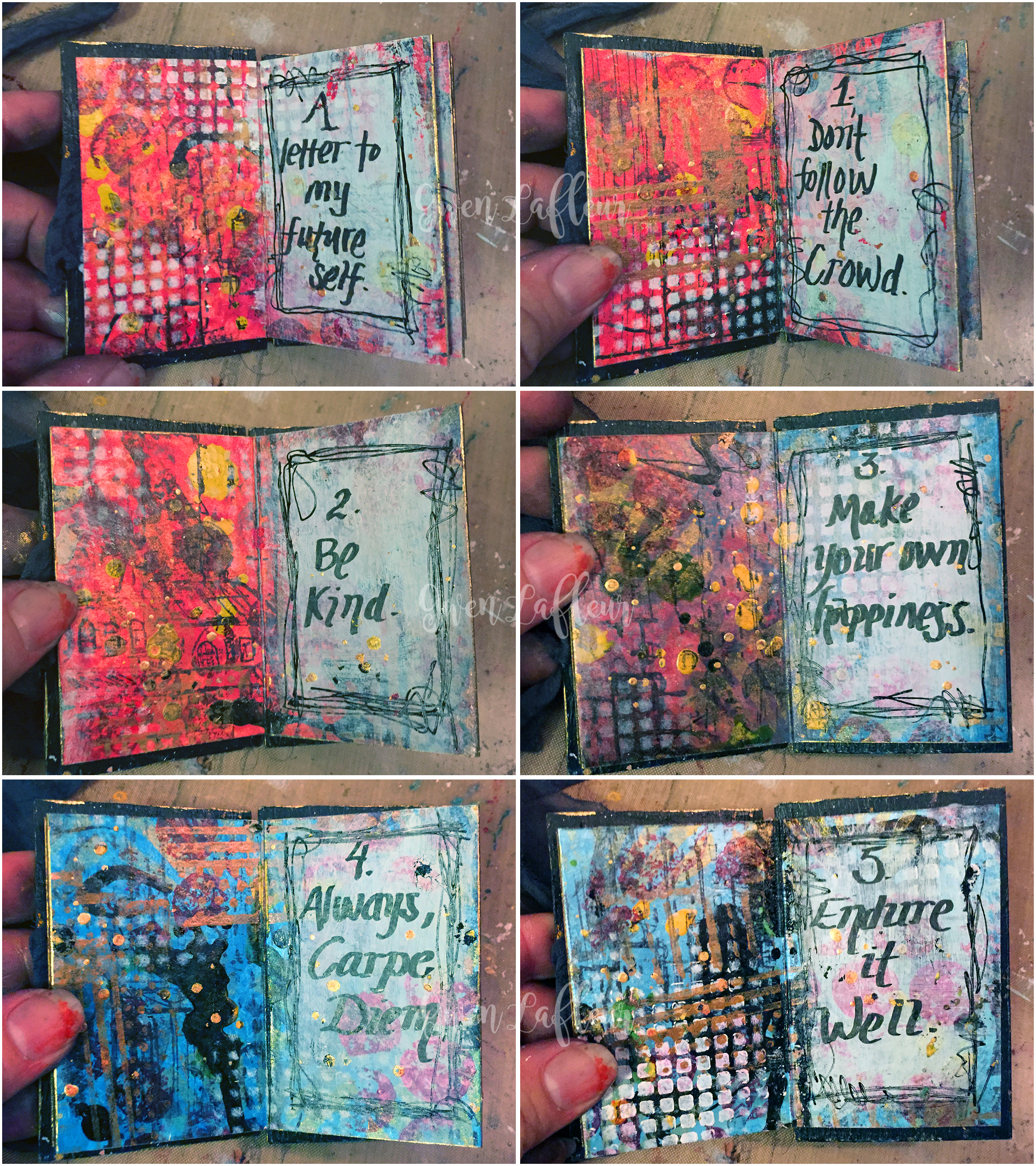 Letter to Future Self - Mini Art Journal Inside Pages - Gwen Lafleur
